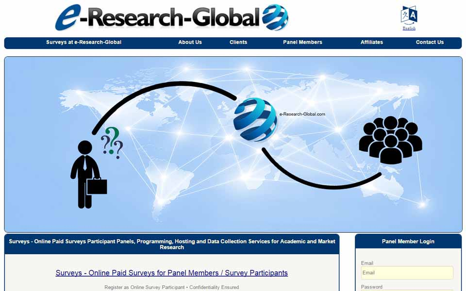 Join the e-Research-Global.com's Consumer Paid Surveys Panel and earn money. Members may participate in paid online surveys (online questionnaires), online focus groups and new product testing for money. For a completed survey, you will be paid with money as a reward.